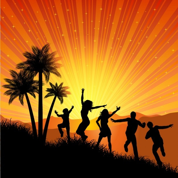 Summer Party Background with dancing\ Silhouette
