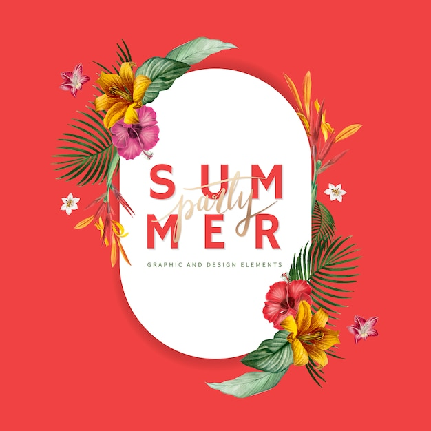 Summer party banner Free Vector