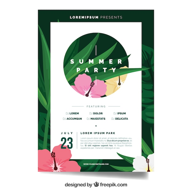 Summer Party Brochure Template With Flowers Vector | Free Download