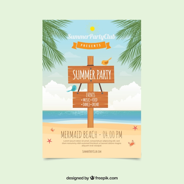 Summer party brochure with wood sign Free Vector