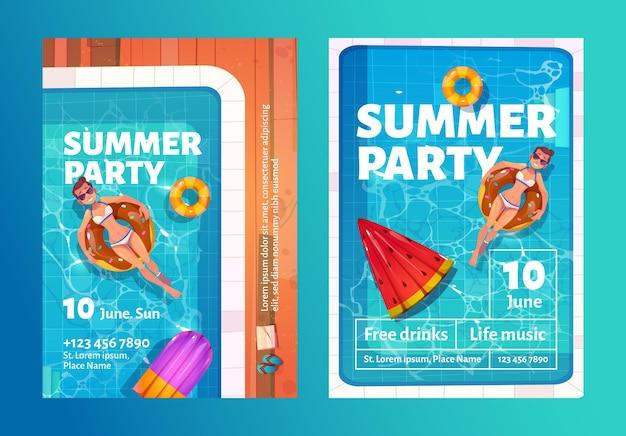 풍선 반지에 수영장에서 여자와 여름 파티 만화 전단지 무료 벡터