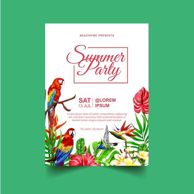 Summer party event flyer or poster template with tropical plants and birds Premium Vector