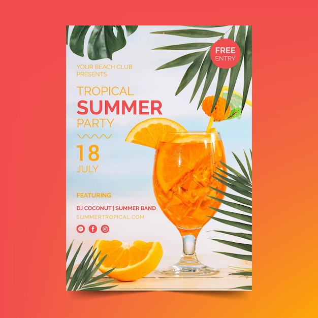 Summer party flyer template with cocktail Free Vector