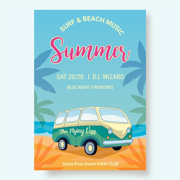 Summer party flyer template with van on beach Free Vector