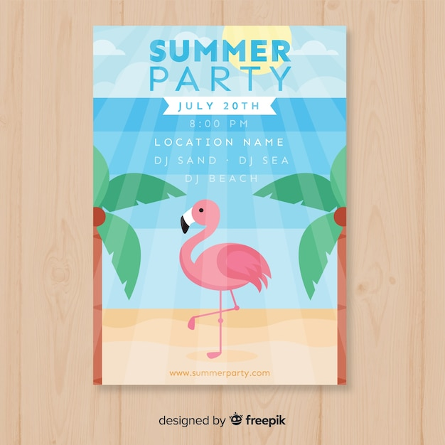 Summer party flyer template Free Vector