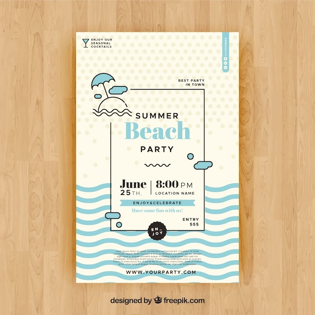 Summer party flyer to celebrate season Free Vector