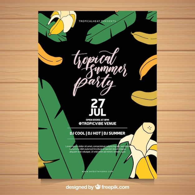 Summer party flyer with bananas and plans Free Vector