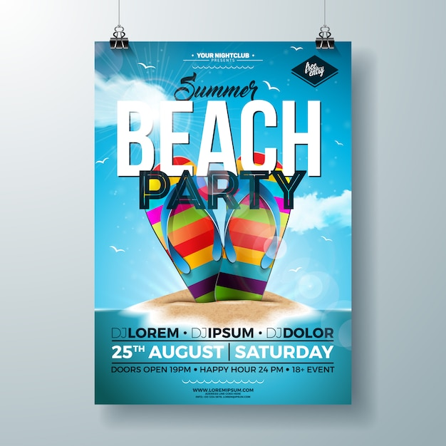Summer party flyer with colorful flip-flop on tropical island Premium Vector