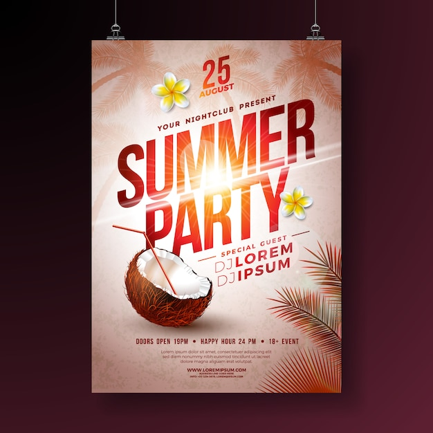 Summer party flyer with flower and coconut Premium Vector