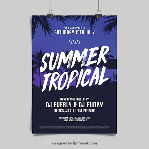 Summer party flyer with palms