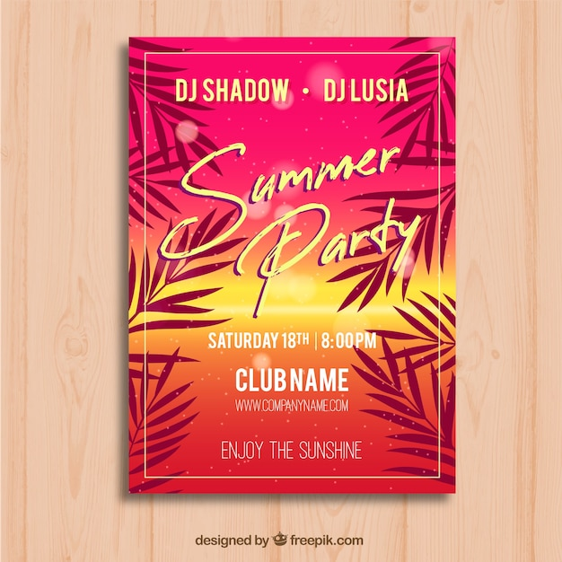 Summer party flyer with palms Free Vector