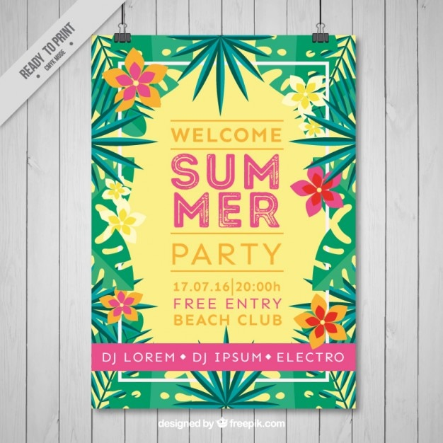 download vector tropical flyer of summer party vectorpicker
