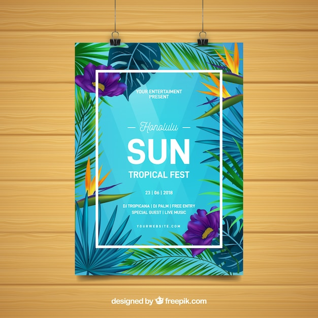Summer party flyer with tropical plants Free Vector