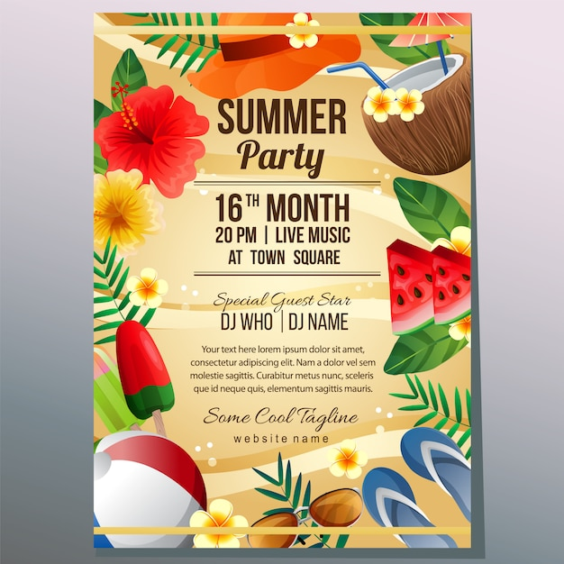 Summer party holiday poster template beach sand object vector illustration Premium Vector