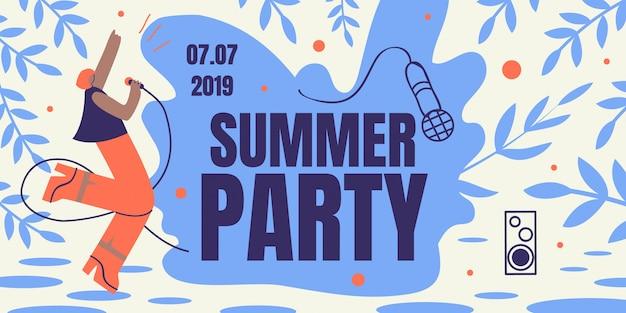 Summer party horizontal retro colored banner flyer Premium Vector