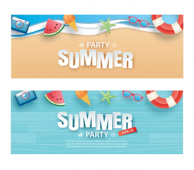 Summer party invitation banner with decoration origami Premium Vector