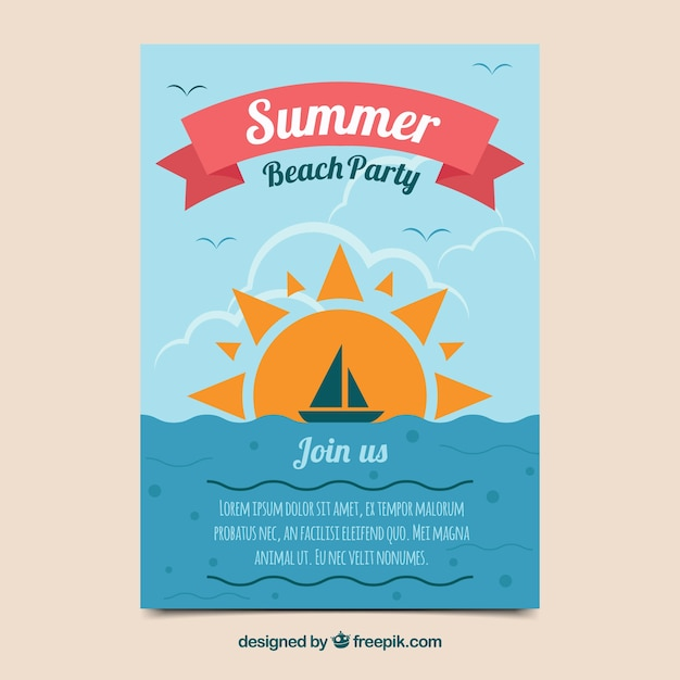 Summer party invitation in flat design Free Vector