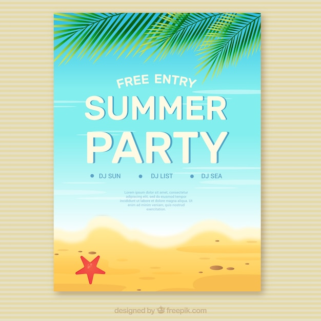 summer party invitation on the beach vector | free download, Party invitations