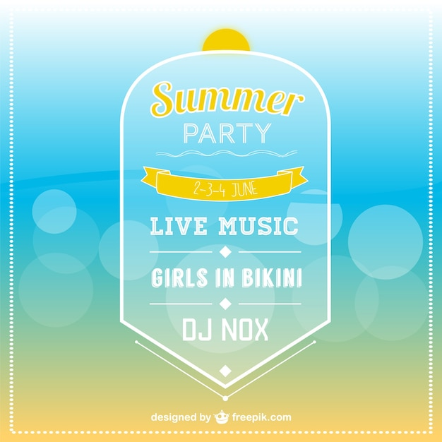 Summer Party Invitation Template Vector  Free Download