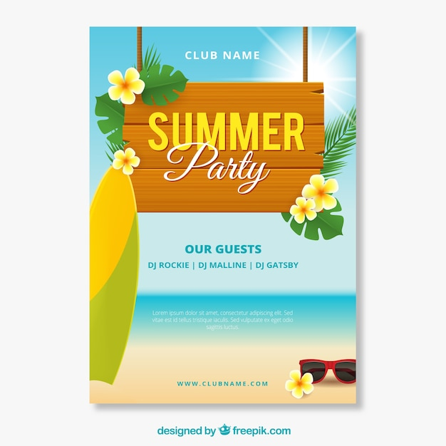 Summer party invitation with beach view in\ realistic style
