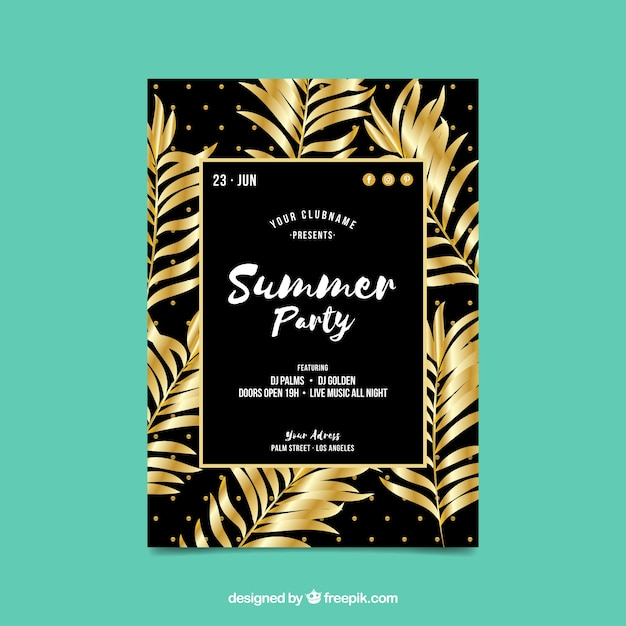 summer party invitation with golden palm leaves vector | free download, Party invitations