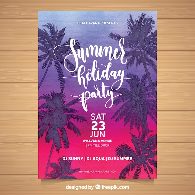 Summer party invitation with sunset and palm\ trees