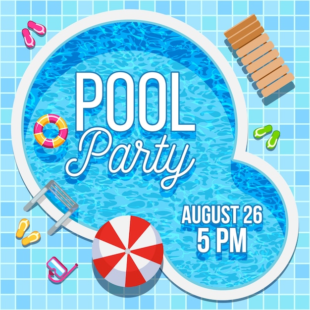 Summer party invitation with swimming pool template Premium Vector