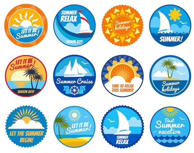Summer party labels and emblems with sun and sea beach. Premium Vector
