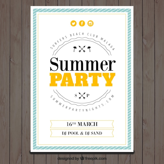 Summer party leaflet template with color details Free Vector