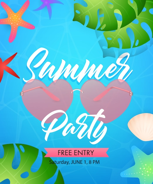 Summer party lettering with heart shaped glasses Free Vector