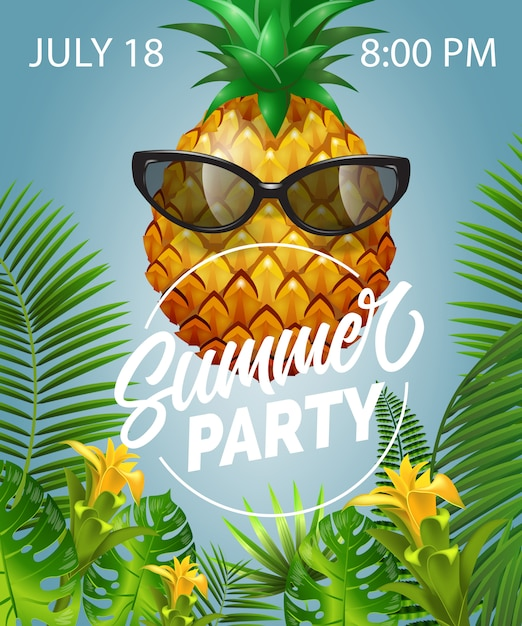 Summer party lettering with pineapple in sunglasses. summer offer Free Vector
