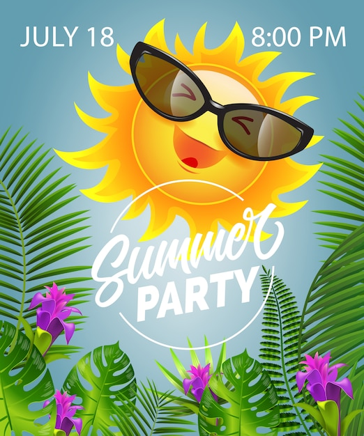 Summer party lettering with smiling sun in\ sunglasses. Summer offer
