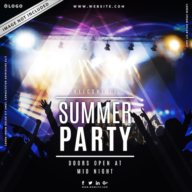Summer party music poster template Premium Vector
