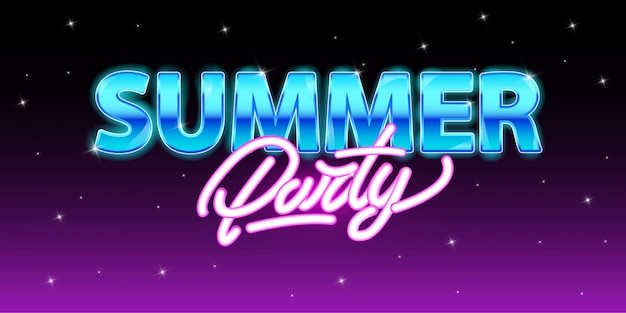 Summer party in neon style. Premium Vector