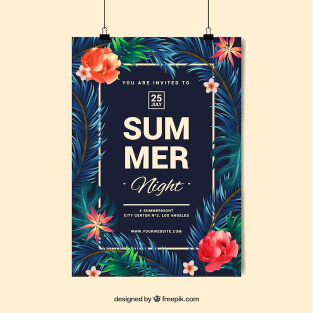 Summer party night design Vector | Free Download
