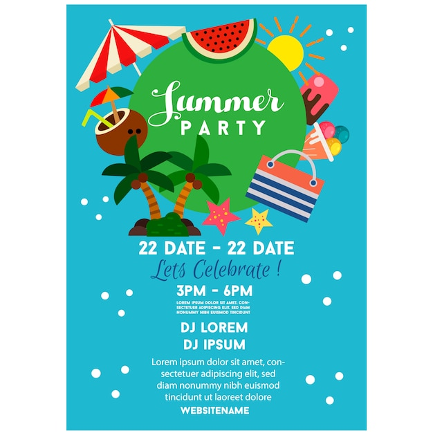 Summer party poster blue flat style illustration Premium Vector