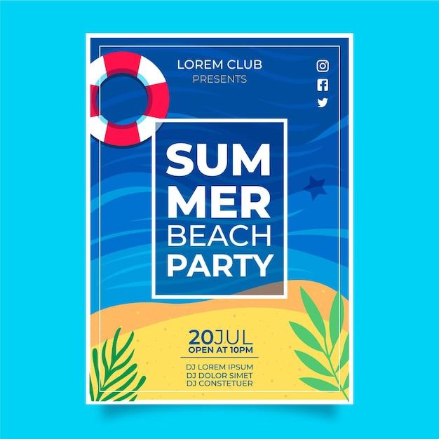 Концепция плаката летней вечеринки Бесплатные векторы