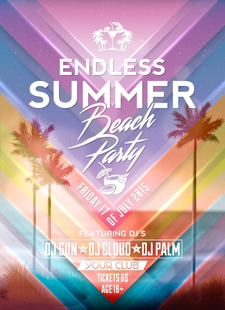 Summer party poster design Free Vector