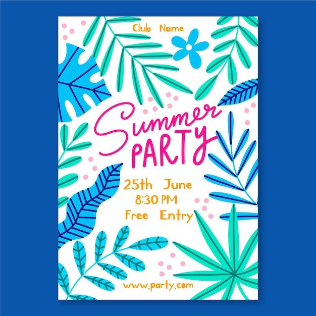 Disegnato poster di festa estiva Vettore gratuito