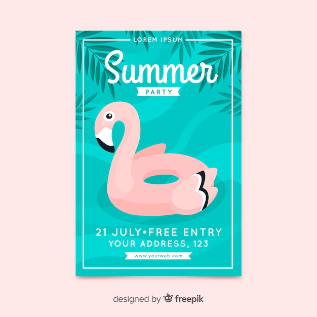 Summer party poster flat design Free Vector