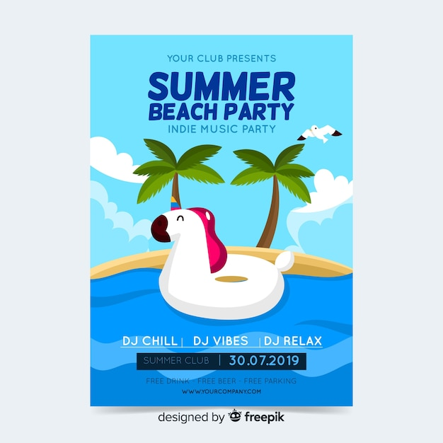Summer party poster or flyer template ready to print Free Vector