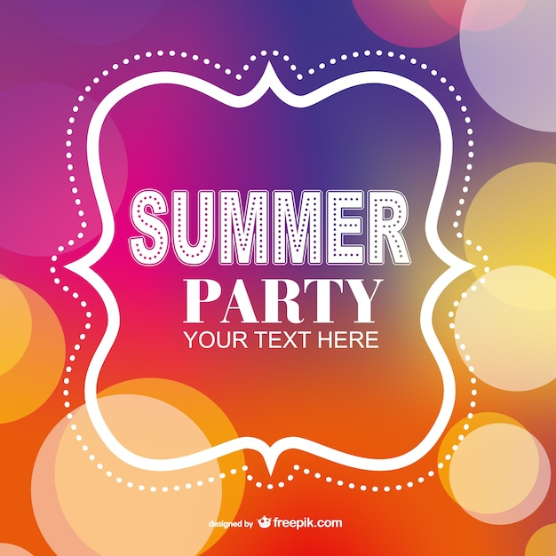 Summer party poster invitation template Free Vector