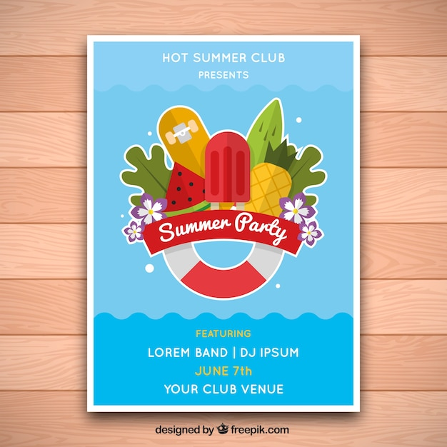 Summer party poster swimming pool design vector free for Pool design software free download