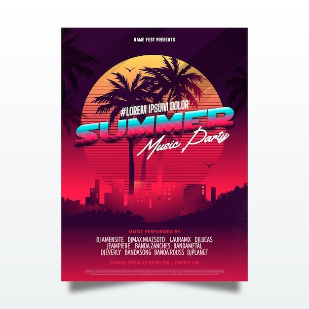 Концепция шаблона плаката летней вечеринки Бесплатные векторы