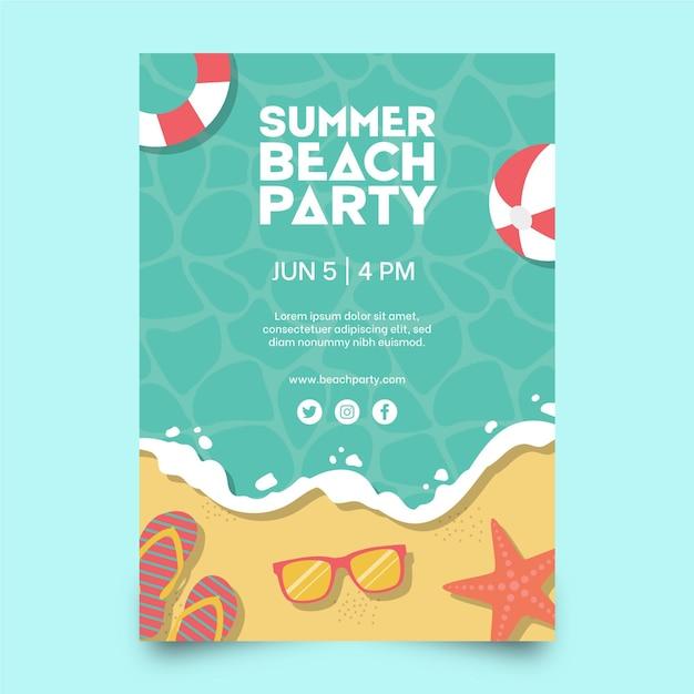 Шаблон плаката летней вечеринки в плоском дизайне Бесплатные векторы