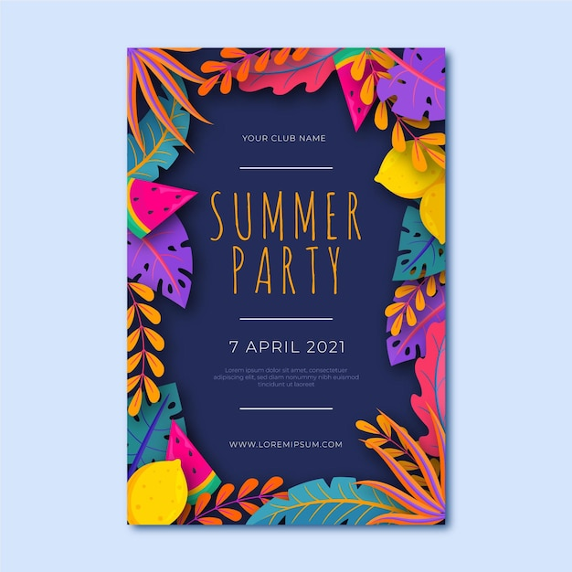 Шаблон плаката летней вечеринки с разноцветными листьями Бесплатные векторы
