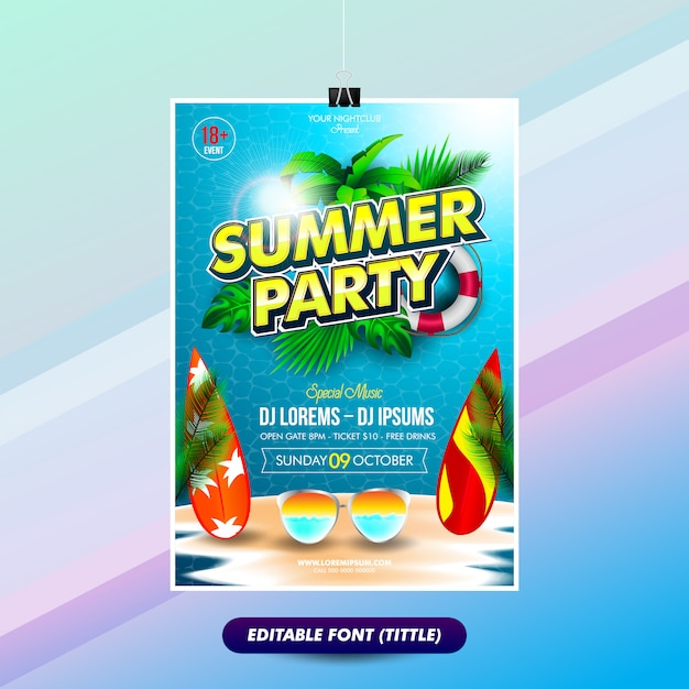 Summer party poster template with editable text effect titles Premium Vector