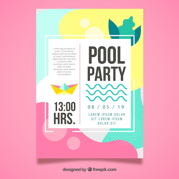 Summer Party Poster Template With Flat Design Free Vector