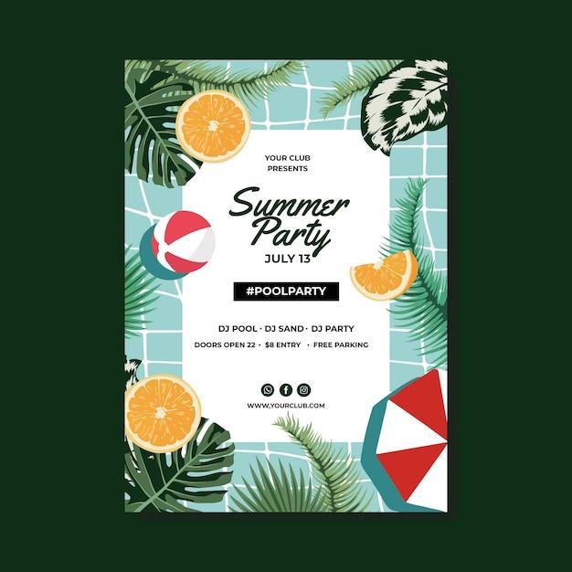 Шаблон плаката летней вечеринки с листьями Бесплатные векторы