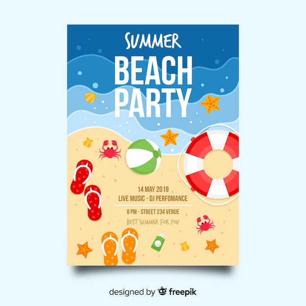 Summer party poster template Free Vector